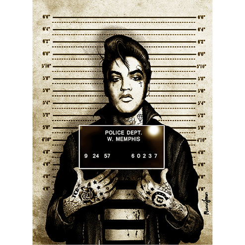 Mr Vegas by Marcus Jones Elvis Mugshot Rolled Canvas Art Print