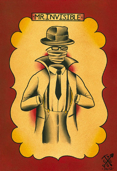 mr. invisible by charlie coffin hg wells science fiction horror canvas art print goth  business-man  tattooed  alternative-artwork  character