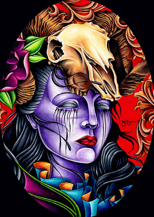 Muerte by Jeff Saunders Paper Rolled Art Unframed Giclee Print