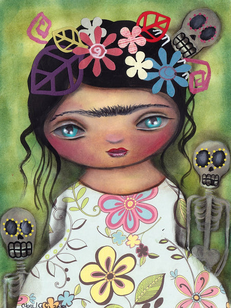 muertos fest by abril andrade big eye girl day of the dead canvas fine art print sugar-skull  skeleton  day-of-the-dead  Mexican  tattoo