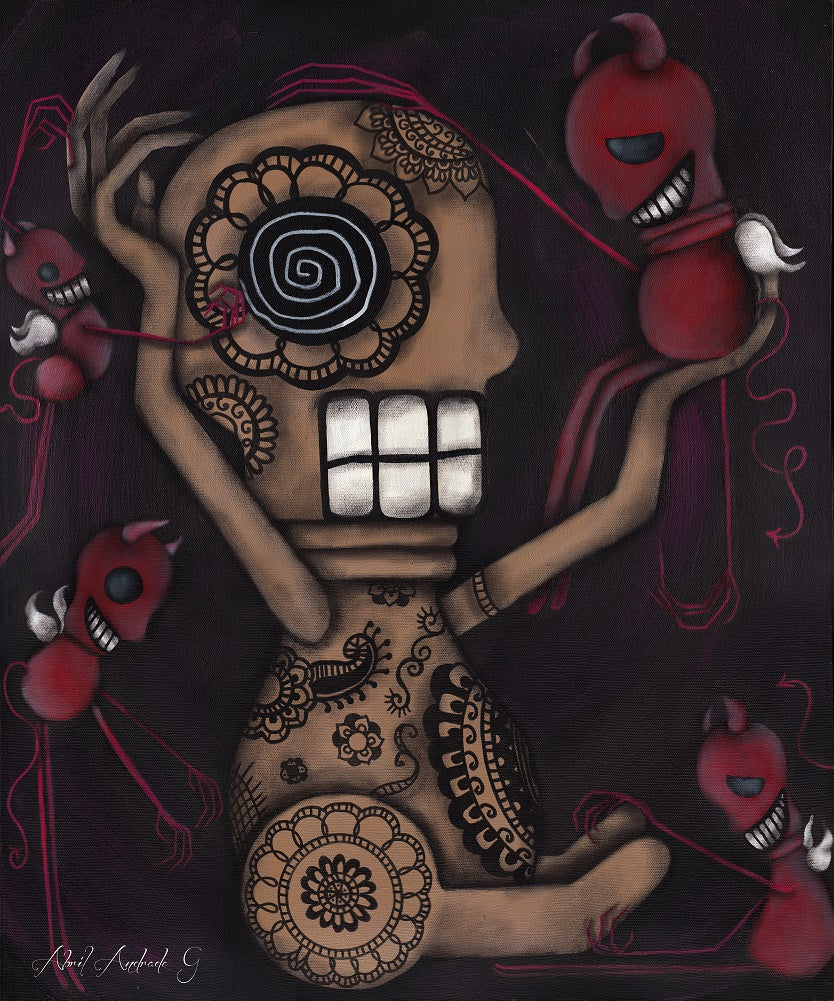 My Conscience by Abril Andrade Little Devil Unframed Canvas Art