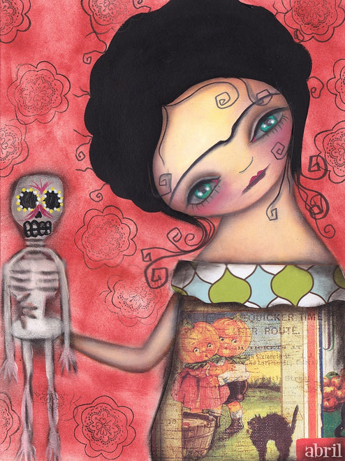 My Puppet by Abril Andrade Mexican Girl Skeleton Fine Art Print