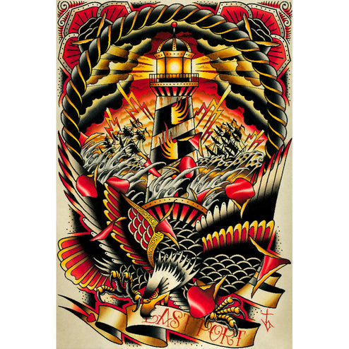 Tyler Bredeweg American Traditional Tattoo Unframed Canvas Art