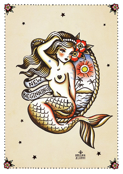 new beginnings by susana alonso pin-up mermaid girl tattoo canvas fine art print sexy traditional nautical design old-school