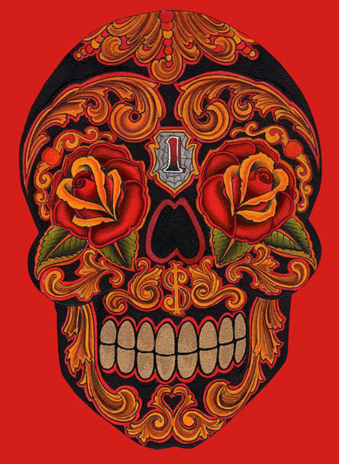 New School Dia Skull by Lil Chris Rolled Canvas Art Giclee Print
