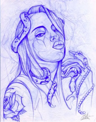 Next by Chris Allen Tattooed Woman with Snake Sketch Canvas Art Print