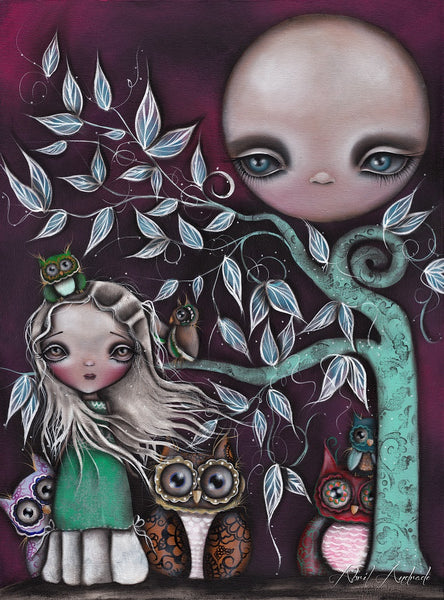 night creatures by abril andrade griffith big eye girl owls canvas art print birds  moon  alternative artwork painting
