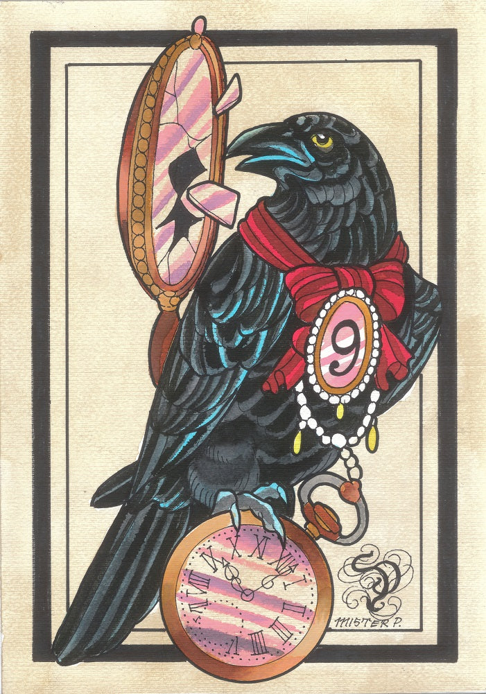 9 Years by Alex Mister P Raven Tattoo Unframed Paper Art Print