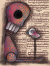 not really alone by abril andrade sugar skull bird & music framed wall art print skeleton  mexican  day-of-the-dead artwork painting