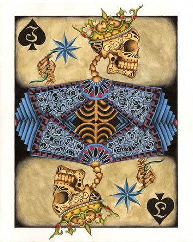 one eyed jack by gabe londis skull poker playing card tattoo canvas art print artwork  teens  goth nerd  giclee