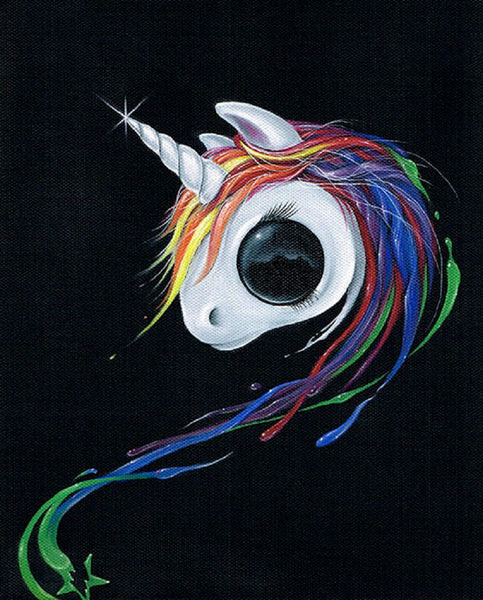 look! a ugly one-horned mule! by sugar fueled rainbow unicorn canvas art print splash  my-little-pony  pony  artwork girls