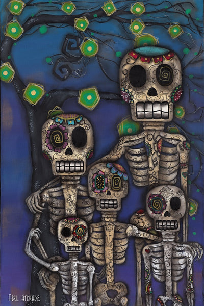 our family abril andrade griffith mexican sugar skull skeletons canvas art print mexican-sugar-skull-skeletons  mexican-death-mask  ethnic  abril-andrade-art  alternative-artwork