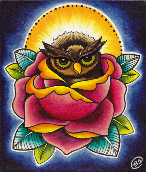 Baby Owl and Rose by Brittany Morgan Lowbrow Artwork Canvas Art Print