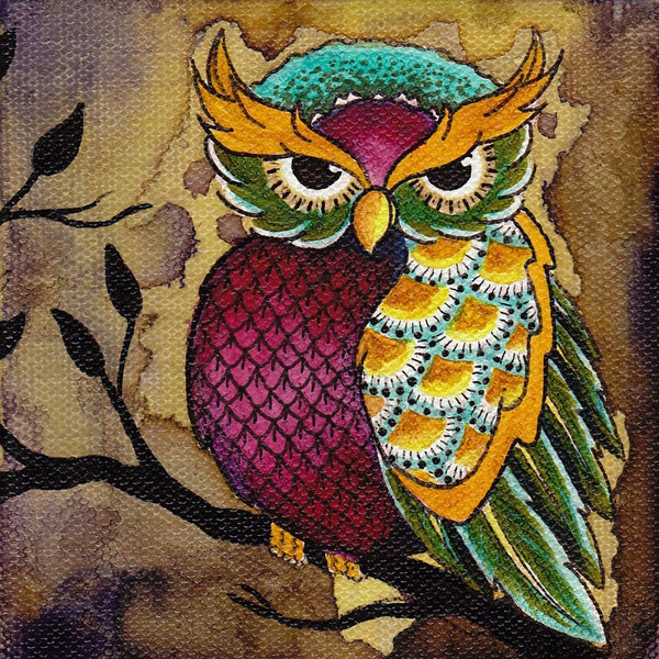 Colorful Owl on Tree Branch by Brittany Morgan Bird Canvas Art Print