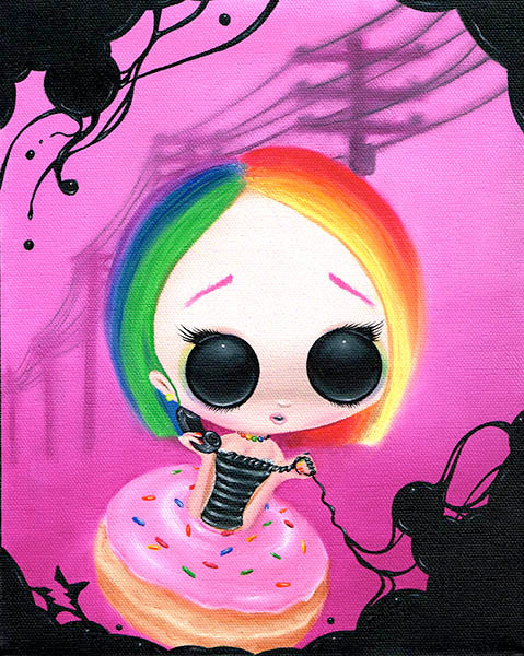 paging mr. rainbow by sugar fueled donut girl canvas colorful giclee art print goth  donught  phone  cute-emo-girl  alternative-artwork