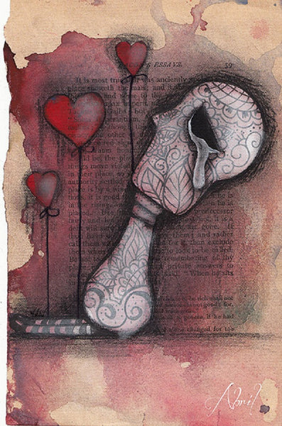 pain by abril andrade sad sugar skull broken heart framed wall art print mexican day-of-the-dead alternative-artwork picture painting
