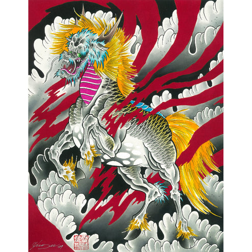 japanese japan unicorn framing mythology horse traditional tattoo color colorful artwork pictures high quality cool room hous
