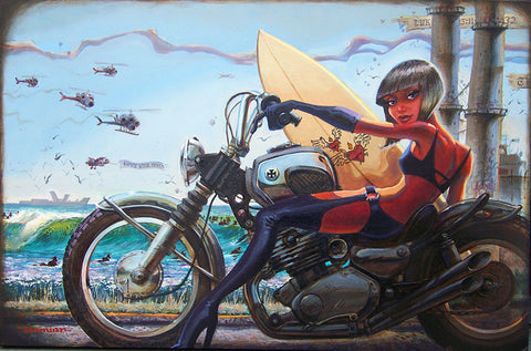Perodical Daughter by Damian Fulton Pin Up Girl Bike Canvas Art Print