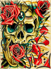 pretty traditional feminine rose flower gems jewels gypsy human skull colorful poster boho hippie bohemian neo-traditional ne