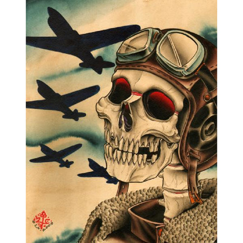 Pilot by 2 Cents Skeleton Airforce Unstretched Canvas Art Print