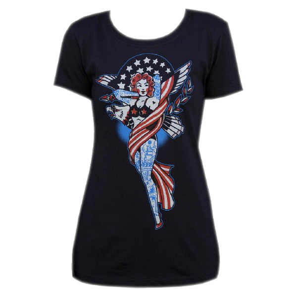 Women's Liberty by Adi Pin-Up Girl Americana Tattoo Black T Shirt