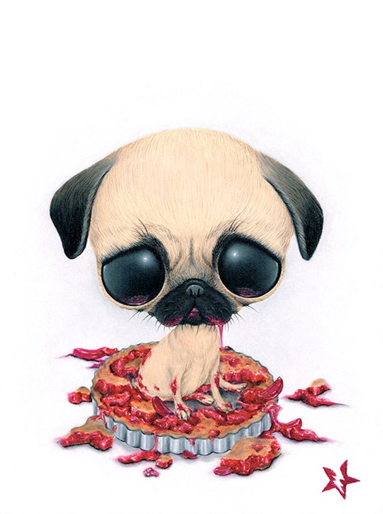 baby animals pug collectables big eyes animal artwork alternative artwork painting traditional tattoo flash designs color art