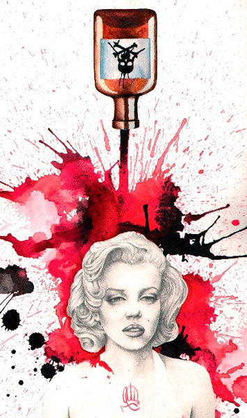 poisoned marilyn by christina ramos female tattoo artist celebrity death tattoo artwork stretched giclee art print tattoo-designs designs-for-tattoos Monroe  tattoo-artist  tattoo-pictures