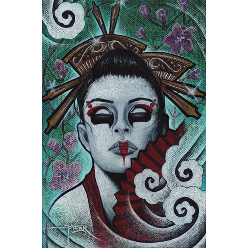 goth cherry blossom asian gothic skull traditional woman dead zombie monster wall art framed ready to hang living room large