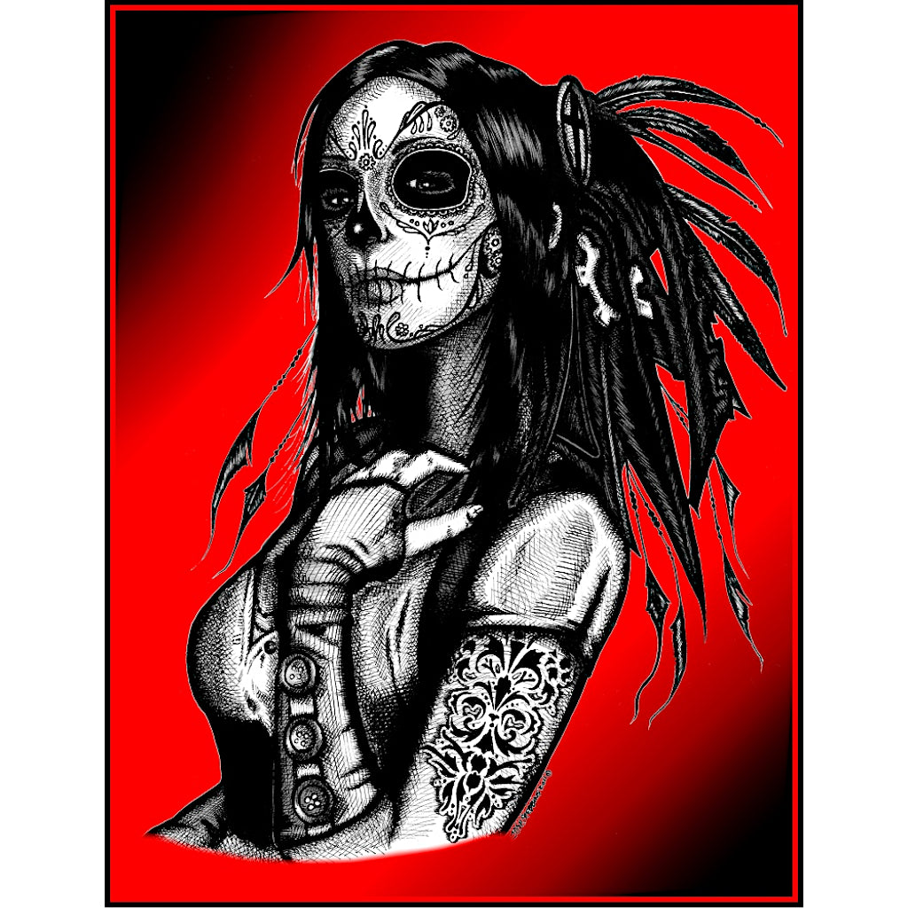 queen native american sugar skull skeleton artwork painting traditional tattoo flash designs color artwork artist black wood