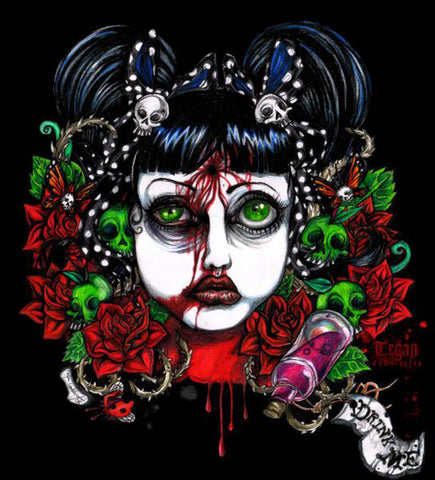 pretty little bullet by tegan coddington suicide poison tattoo canvas art print glittersniffer  day of the dead  drink me  poison  suicide