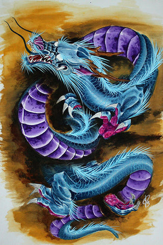 Purp Dragon by Derek Dufresne Japanese Bright Color Canvas Art Print