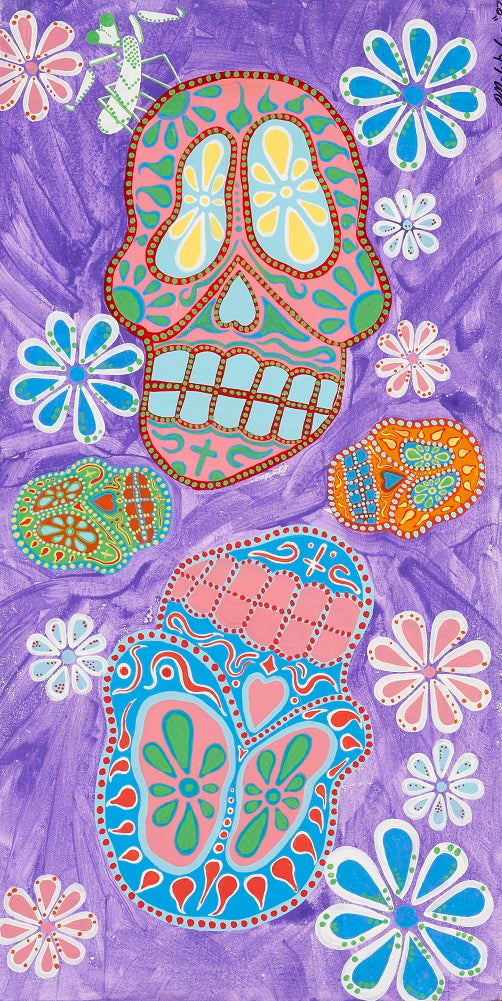 Purple Dead by Malibloc Day of the Dead Sugar Skull Canvas Giclee Fine Art Print death mask dia-de-los-muertos face tattoo