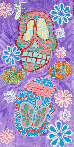 Purple Dead by Malibloc Day of the Dead Sugar Skulls Canvas Art Print