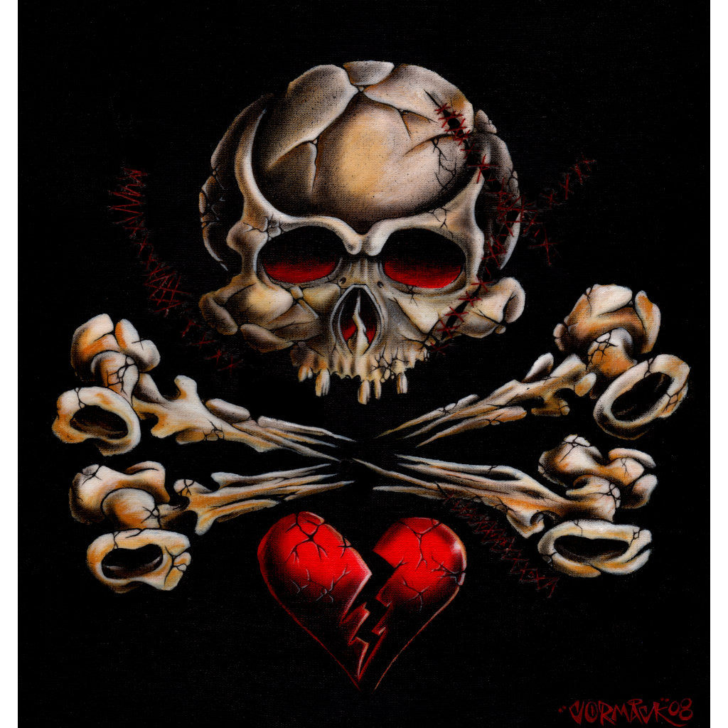 Stitched Skull by Cormack Heart Tattoo Unframed Canvas Art Print