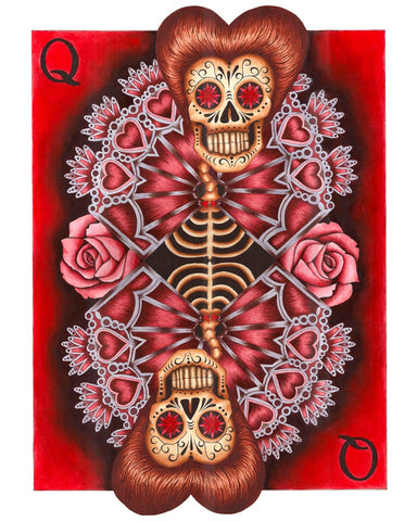 queen by gabe londis sugar skull poker playing card tattoo red canvas art print artwork  teens  goth nerd  giclee