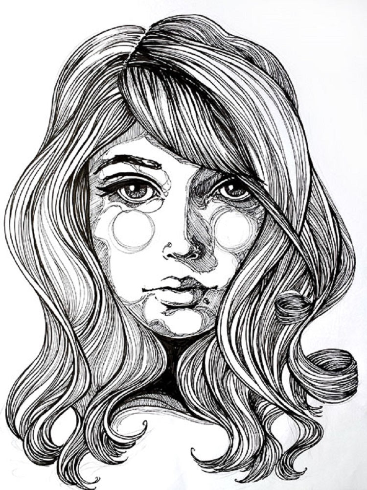 woman sketch tattoo drawing poster painting traditional tattoo flash designs color artwork artist black wood home decor large