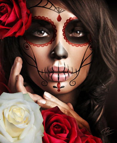 Raquel by Daniel Esparza Mexican Day of the Dead Canvas Fine Art Print
