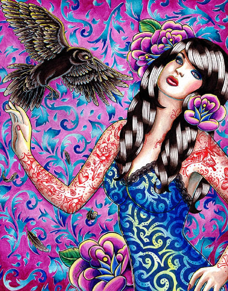 raven by carissa rose tattooed woman w/ black bird tattoo canvas fine art print colorful roses  artwork painting crow