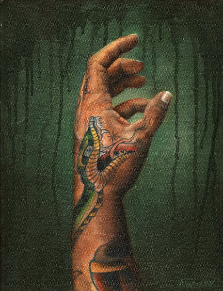 reaching by anthony velasquez tattooed snake on hand arm tattoo canvas art print tattooed arm study drawing artwork