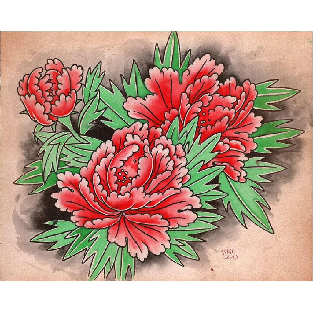 salon parlor decorate home peony floral fine gallery wall asian floral oriental tattoo flash flowers floral inked artwork pic