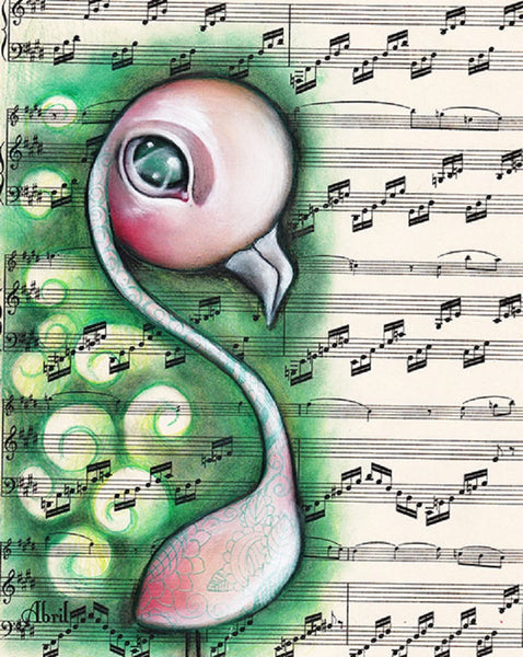 reminiscence by abril andrade griffith big eye flamingo bird canvas art print fantasy alternative artwork painting wrapped