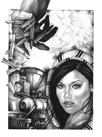 revolution by spyder mexico railroad train black & white tattoo canvas art print war  bullets artwork  sketch mexican