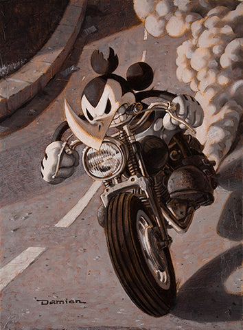 Ricky Rhino by Damian Fulton Mickey Mouse Motorcycle Canvas Art Print