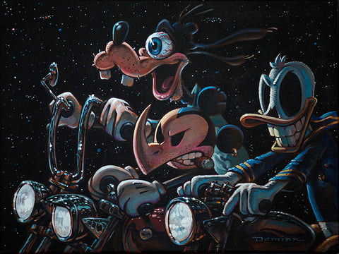 The 3 Amigos Ride Again by Damian Fulton Mickey Mouse Canvas Art Print