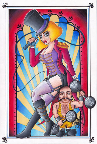 ring leader by bio hally sexy carnie pin-up girl w whip circus canvas art print alternative artwork poster carnival carny