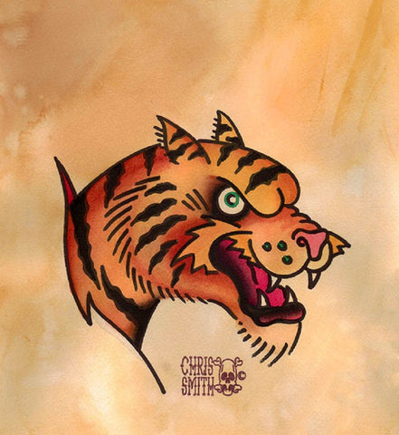 riptiger by chris smith old school traditional tiger tattoo canvas art print flash  jungle-cat  asian  wild-cat design