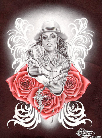 rosary on red roses by fernando shorty lopez sexy latina woman canvas art print sexy-woman  pin-up  tattoo-roses  catholic  alternative-artwork