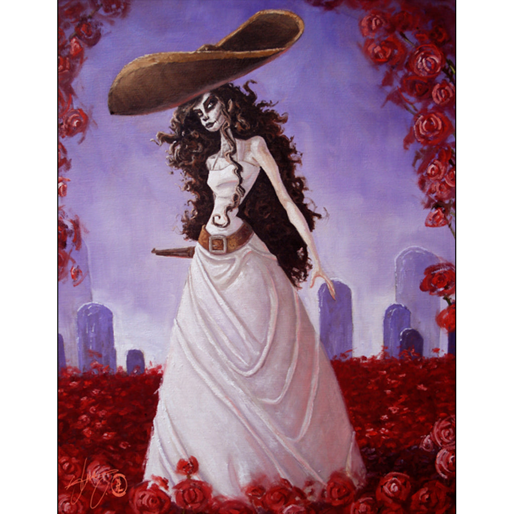 Roses and Her Gun by Steven Correa Mexican Unframed Canvas Art