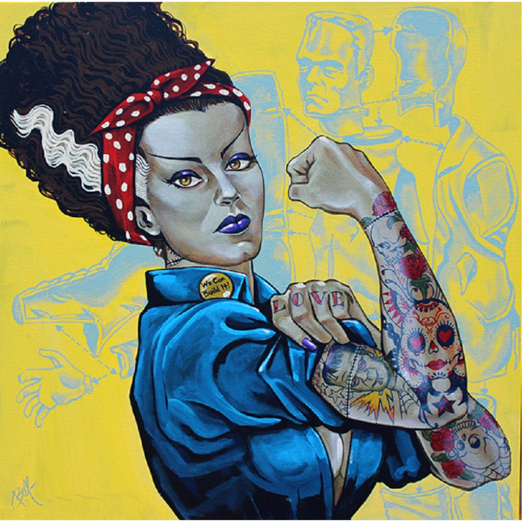 Bride of Frankenstein Tattooed Rosie the Riveter Art