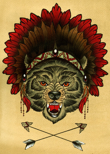 Sacred Wolf by Thea Fear Native American Indian Headdress Art Print